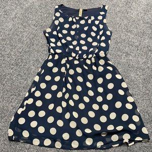 Eyeshadow blue & tan polka dot sleeveless dress-14